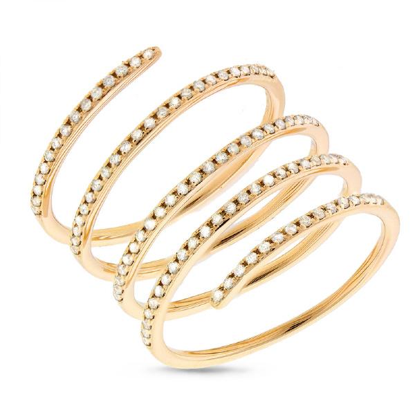 0.36ct 14k Yellow Gold Diamond Spiral Lady's Ring