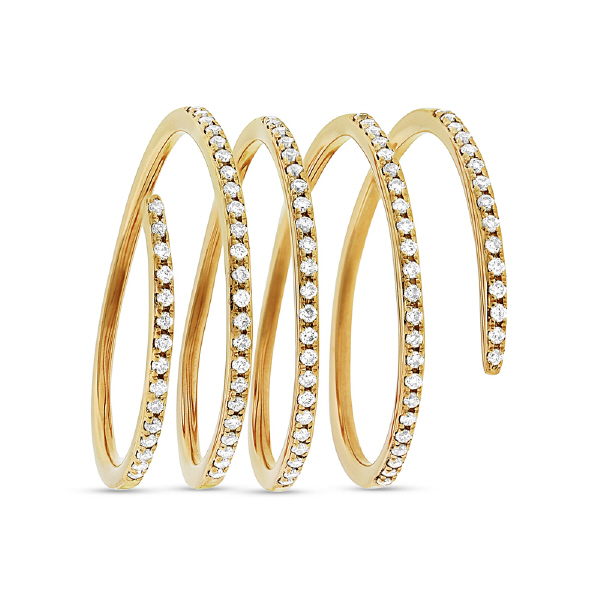 0.36ct 14k Yellow Gold Diamond Spiral Lady's Ring