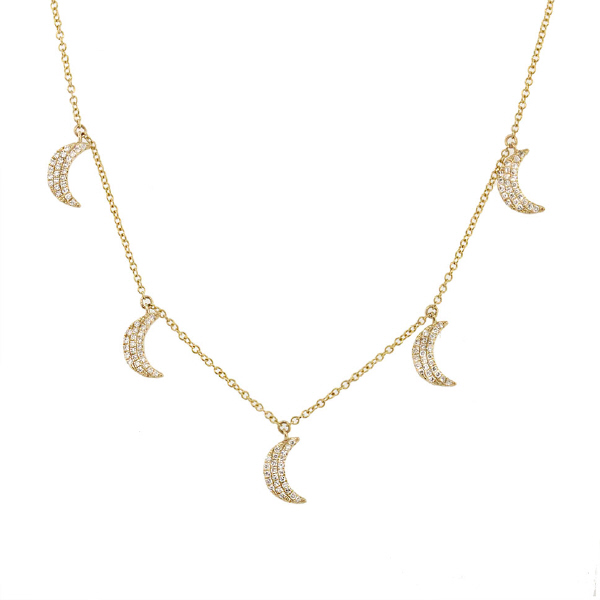 0.30ct 14k Yellow Gold Diamond Crescent Moon Necklace