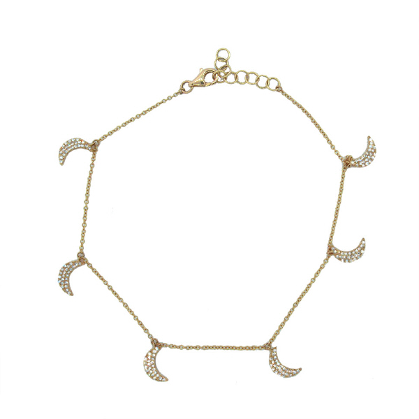 0.35ct 14k Yellow Gold Diamond Crescent Moon Anklet