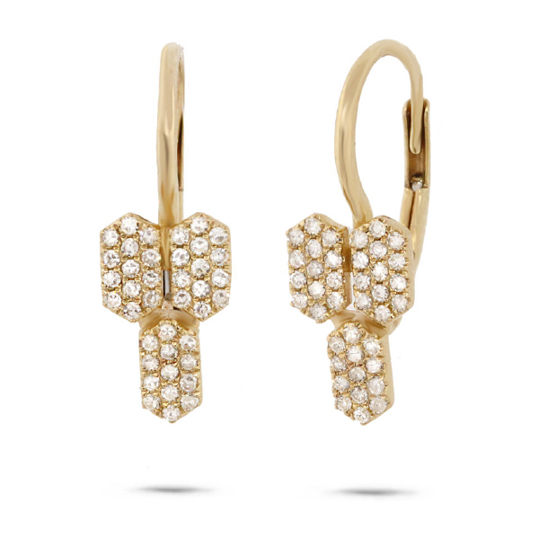 0.25ct 14k Yellow Gold Diamond Bar Earrings