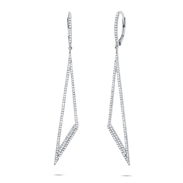 0.65ct 14k White Gold Diamond Triangle Earrings