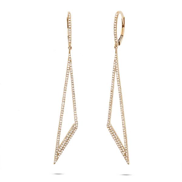0.65ct 14k Yellow Gold Diamond Triangle Earrings