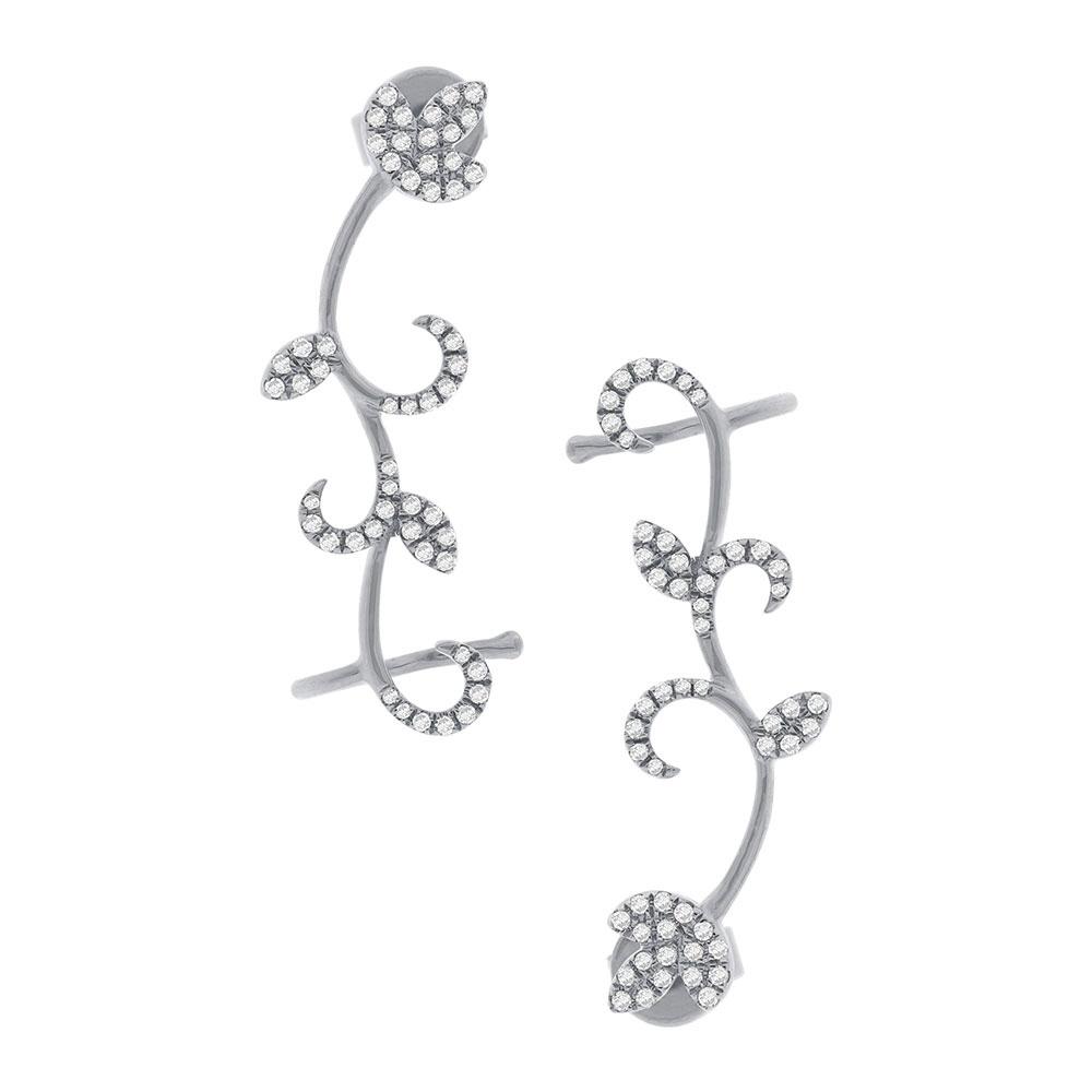 0.29ct 14k White Gold Diamond Leaf Ear Crawler Earrings