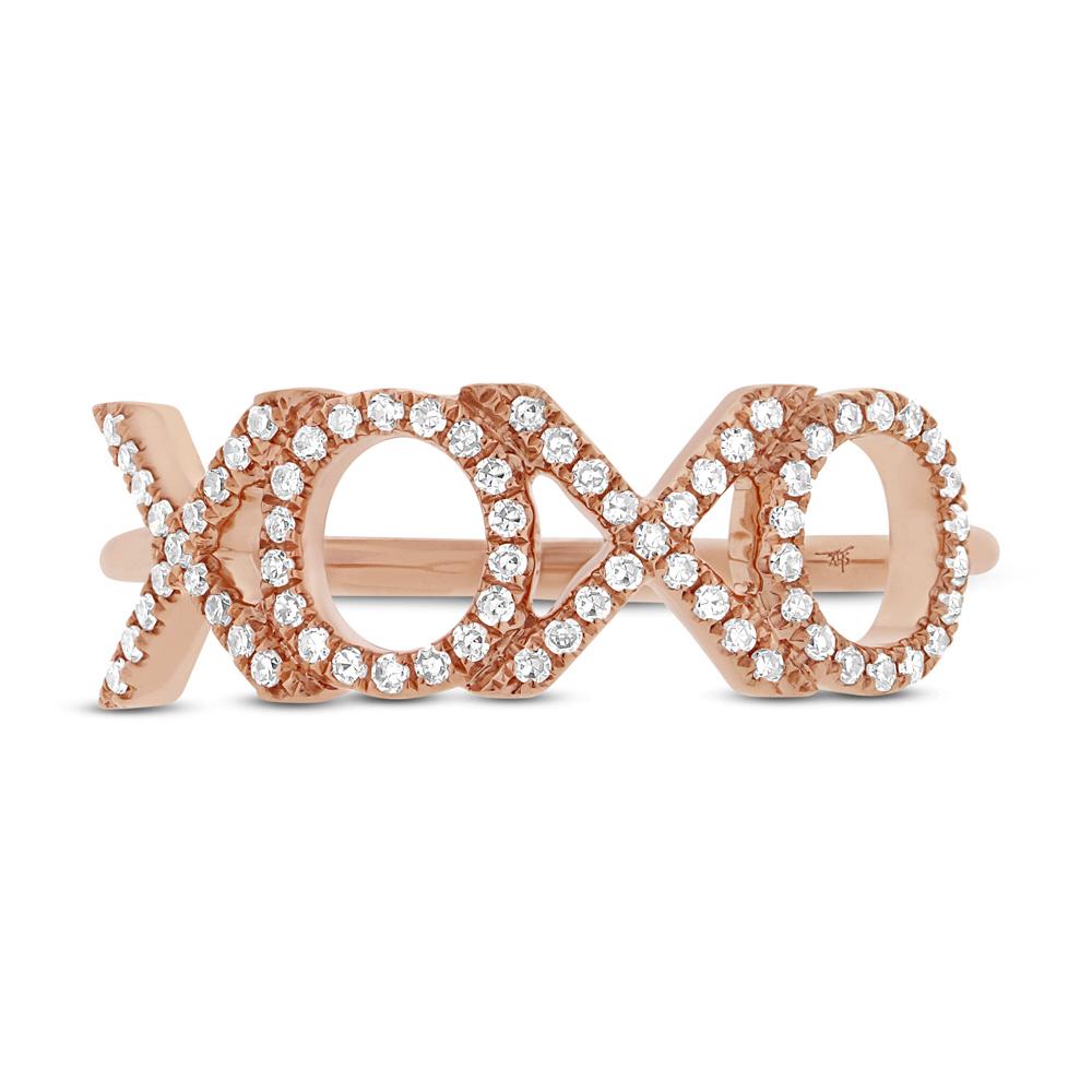 0.18ct 14k Rose Gold Diamond ''XOXO'' Ring
