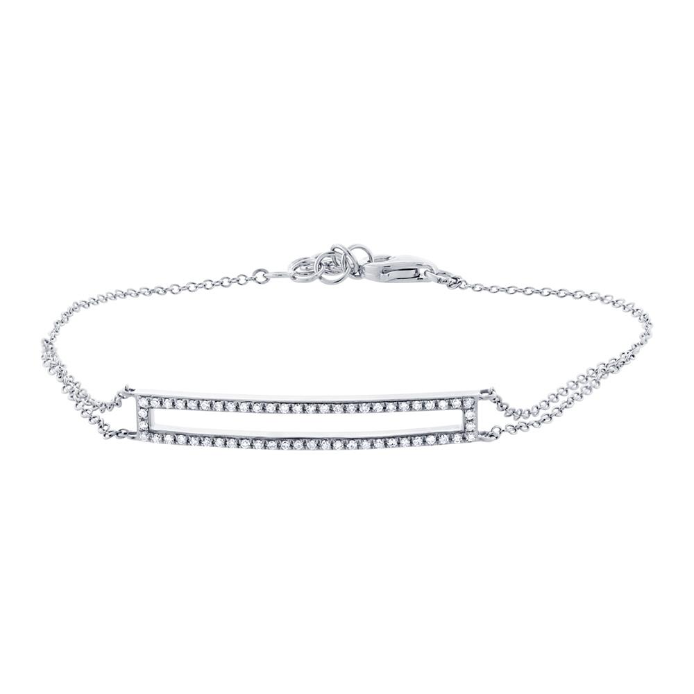 0.18ct 14k White Gold Diamond Bar Bracelet