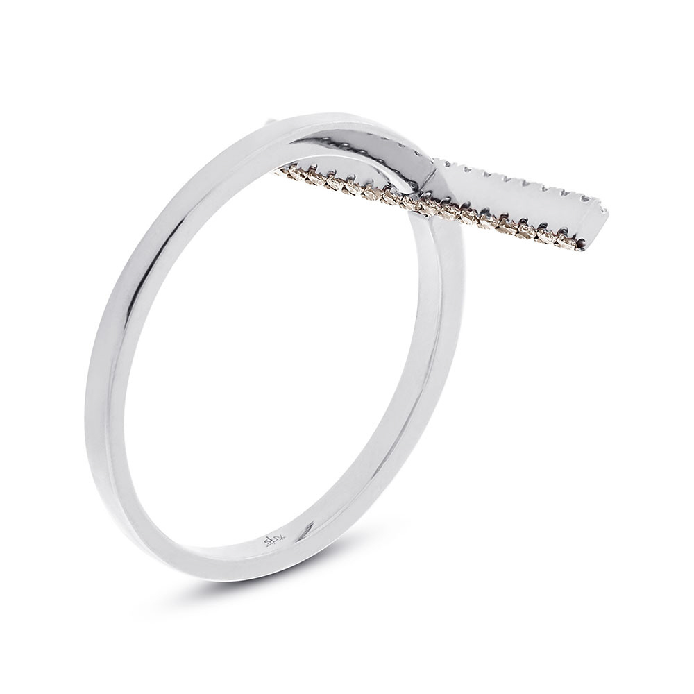 0.15ct 14k White Gold White & Champagne Diamond Bar Lady's Ring