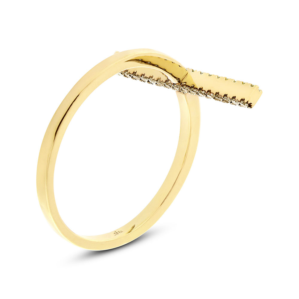 0.15ct 14k Yellow Gold White & Champagne Diamond Bar Lady's Ring