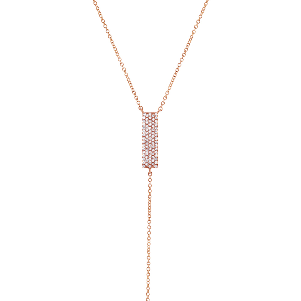 0.19ct 14k Rose Gold Diamond Pave Lariat Necklace