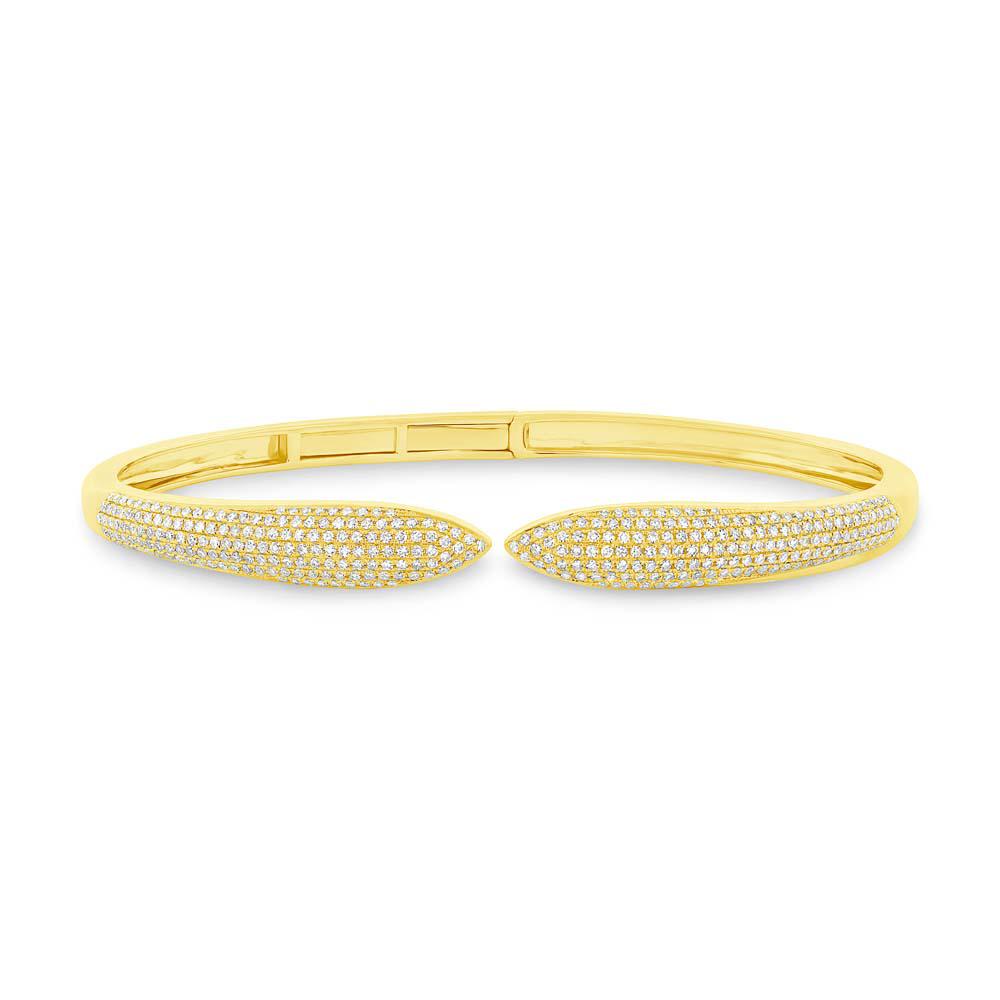 1.08ct 14k Yellow Gold Diamond Claw Bangle Bracelet