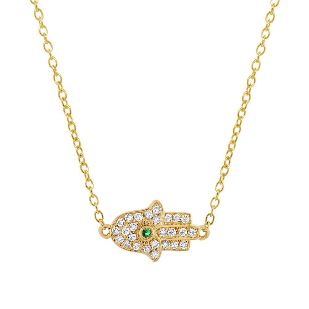 0.08ct Diamond & 0.01ct Emerald 14k Yellow Gold Hamsa Necklace