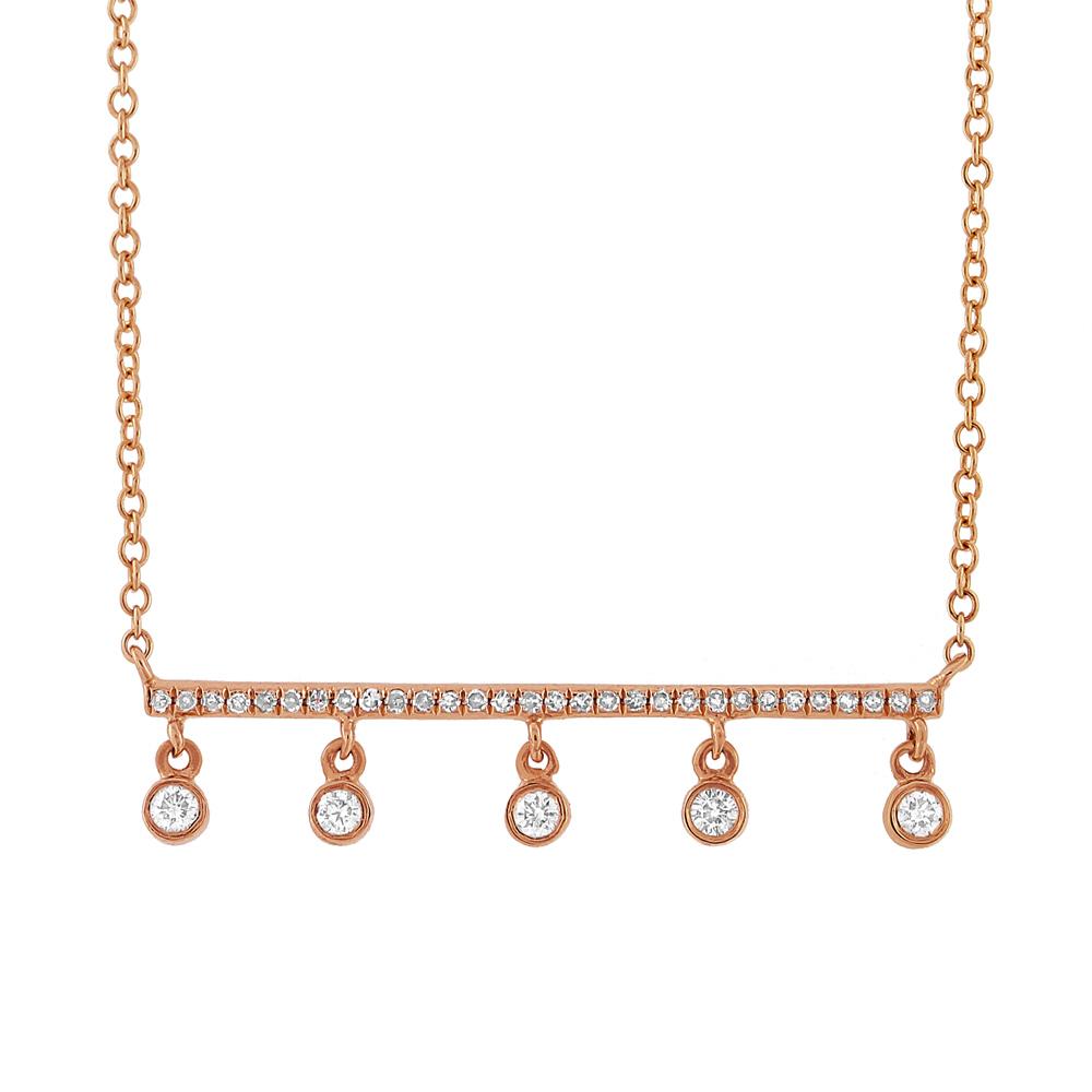 0.18ct 14k Rose Gold Diamond Bar Necklace