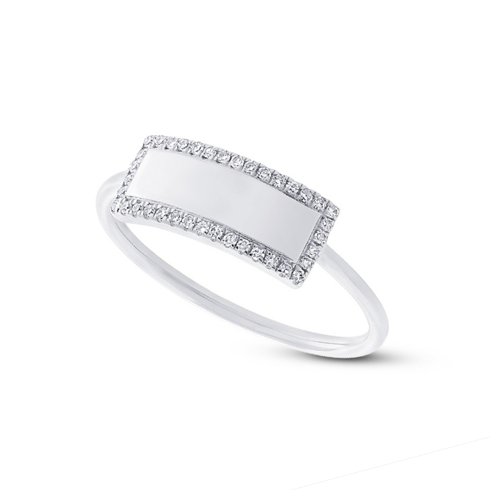 0.11ct 14k White Gold Diamond Bar ID Ring