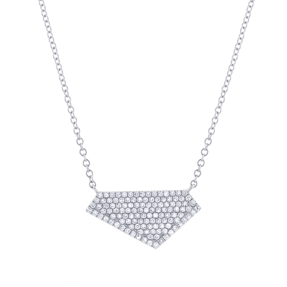 0.28ct 14k White Gold Diamond Pave Necklace