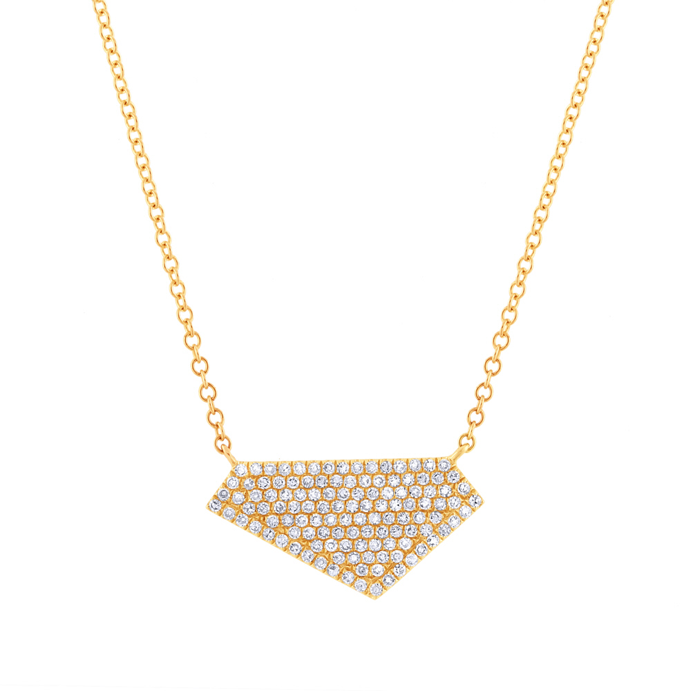 0.28ct 14k Yellow Gold Diamond Pave Necklace