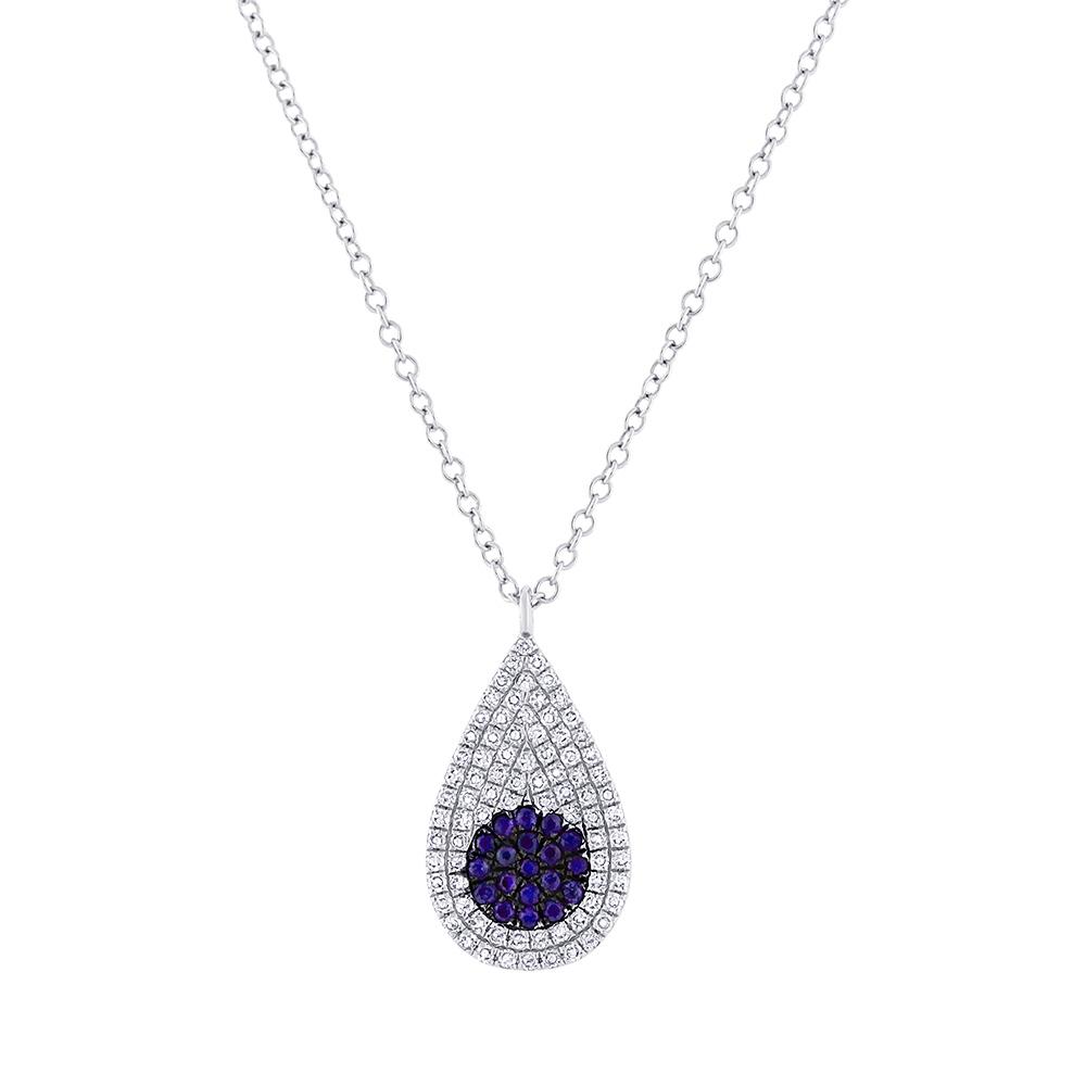 0.22ct Diamond & 0.11ct Blue Sapphire 14k White Gold Pave Pendant Necklace