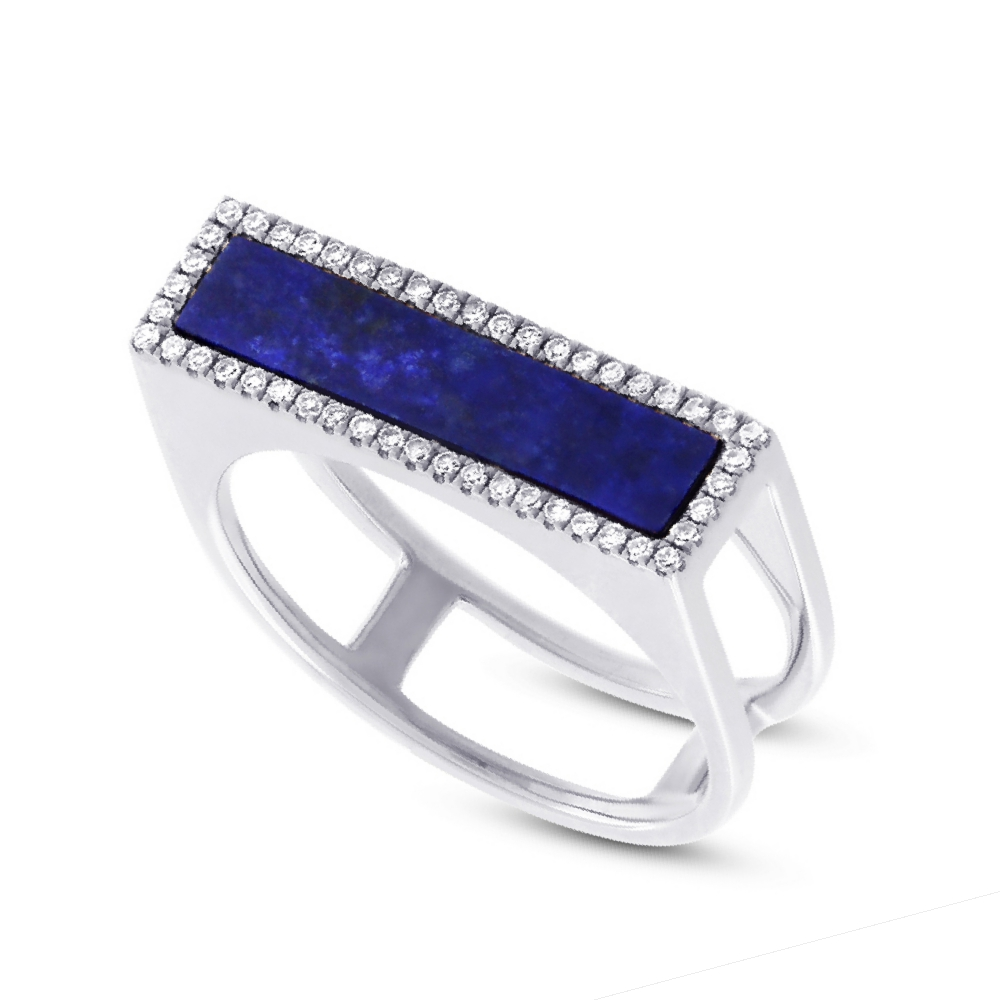 0.15ct Diamond & 1.06ct Lapis 14k White Gold Lady's Ring