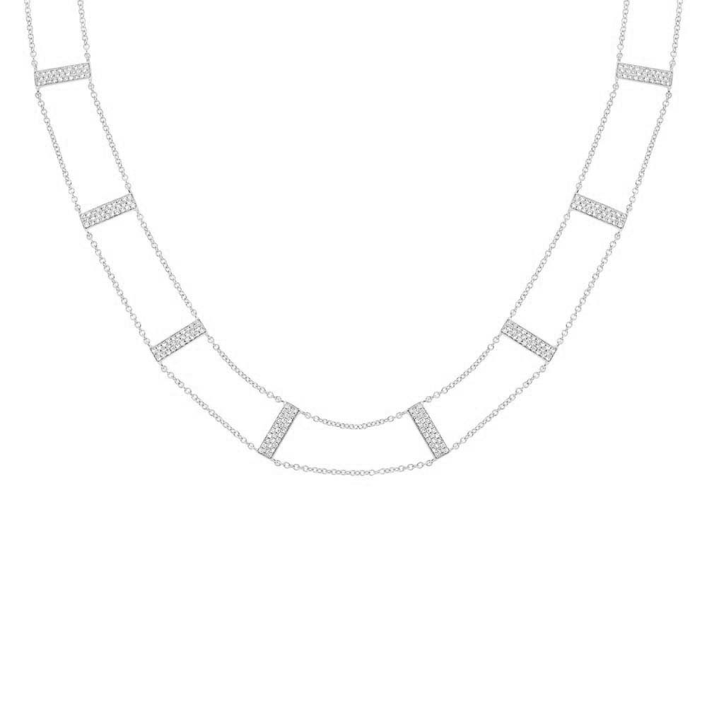 0.71ct 14k White Gold Diamond Ladder Necklace