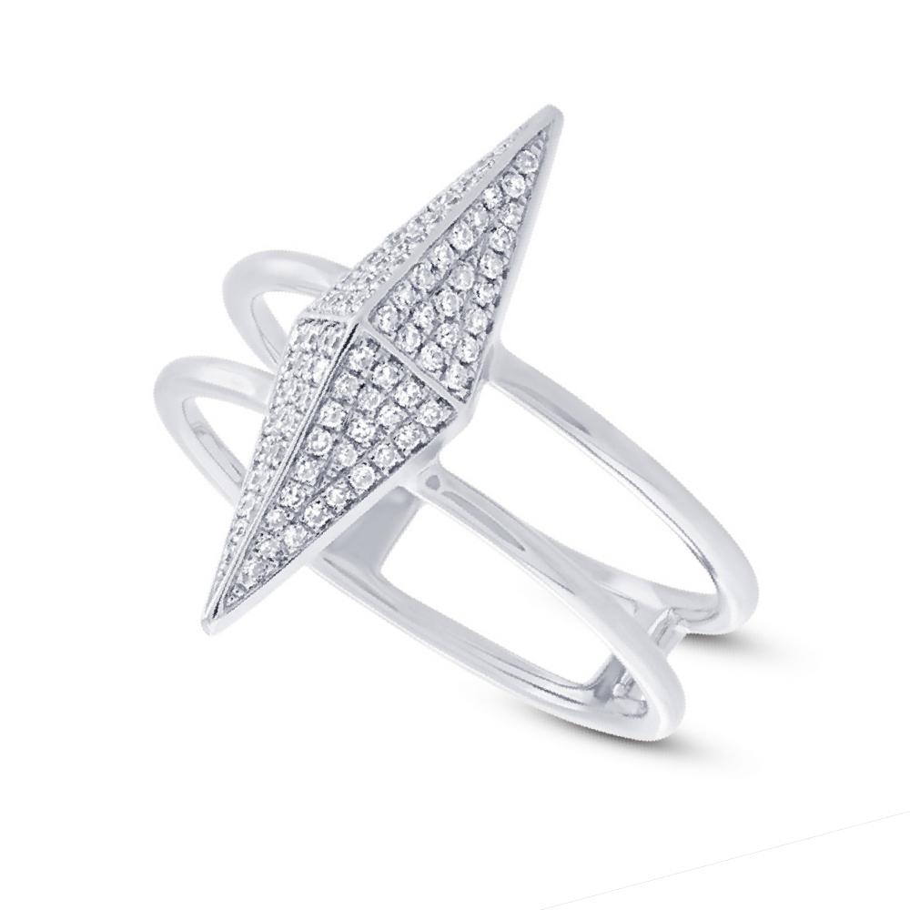 0.22ct 14k White Gold Diamond Pave Pyramid Ring