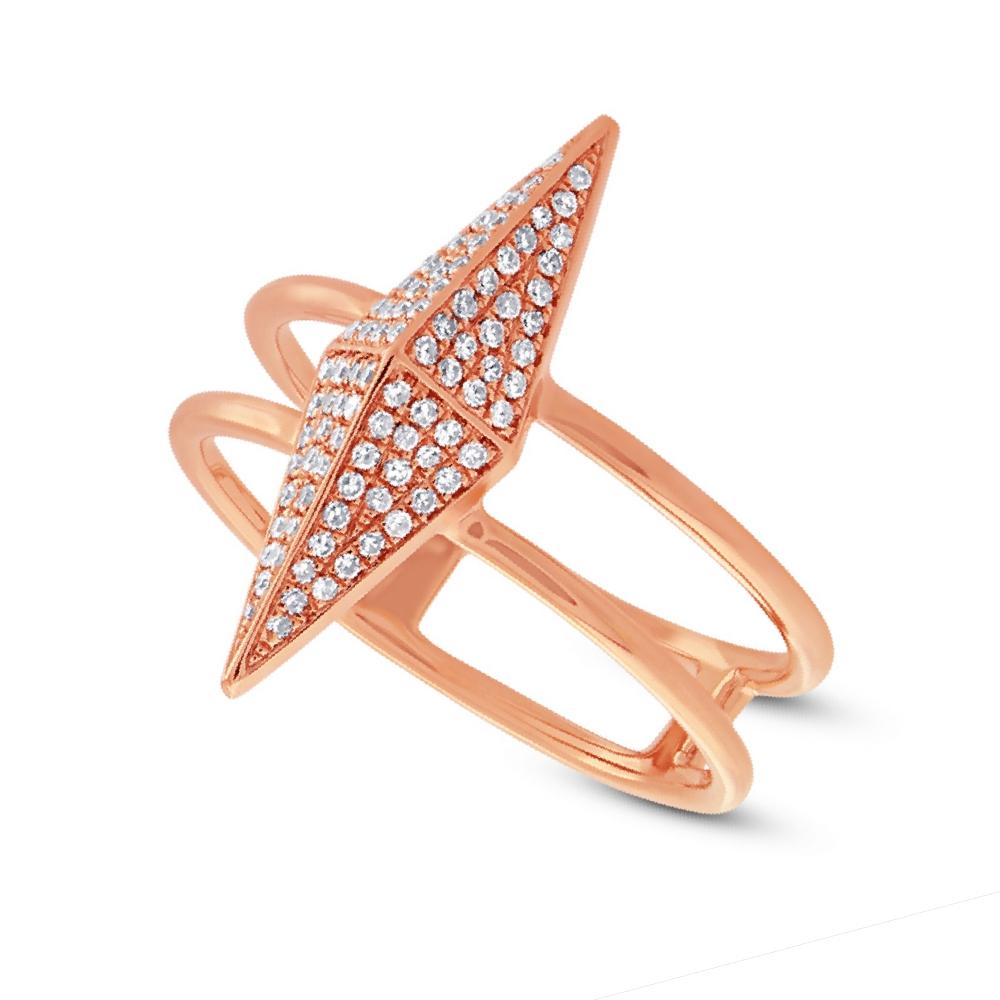 0.22ct 14k Rose Gold Diamond Pave Pyramid Ring