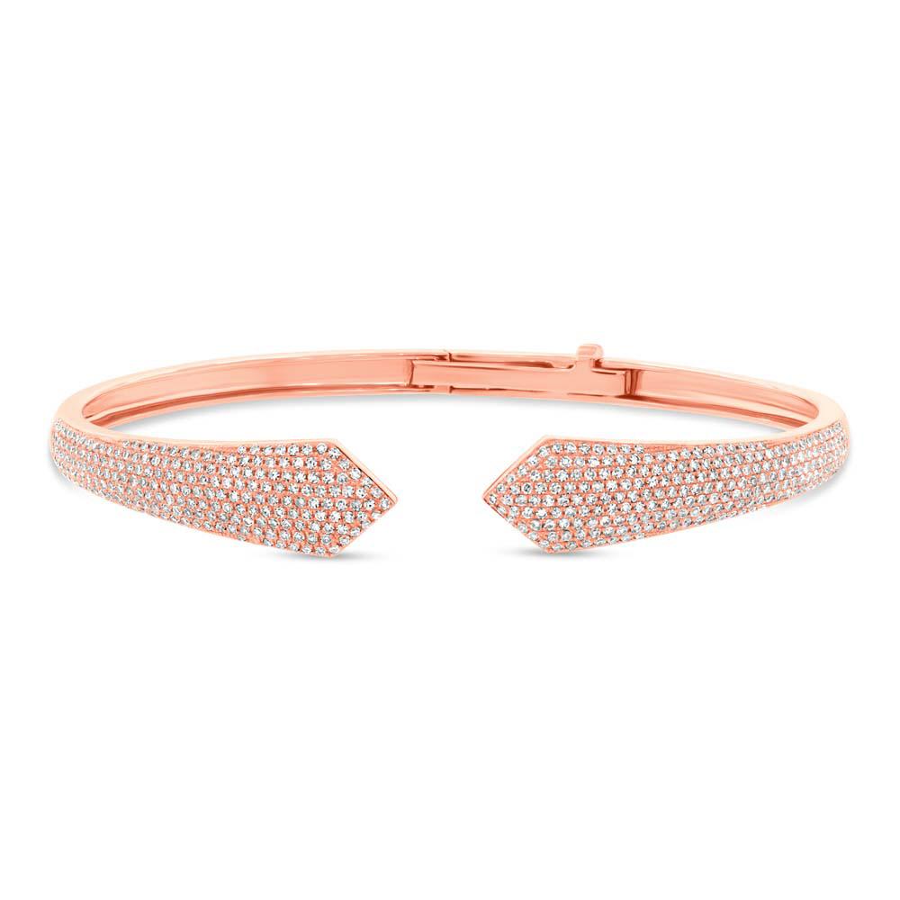 1.34ct 14k Rose Gold Diamond Pave Bangle Bracelet