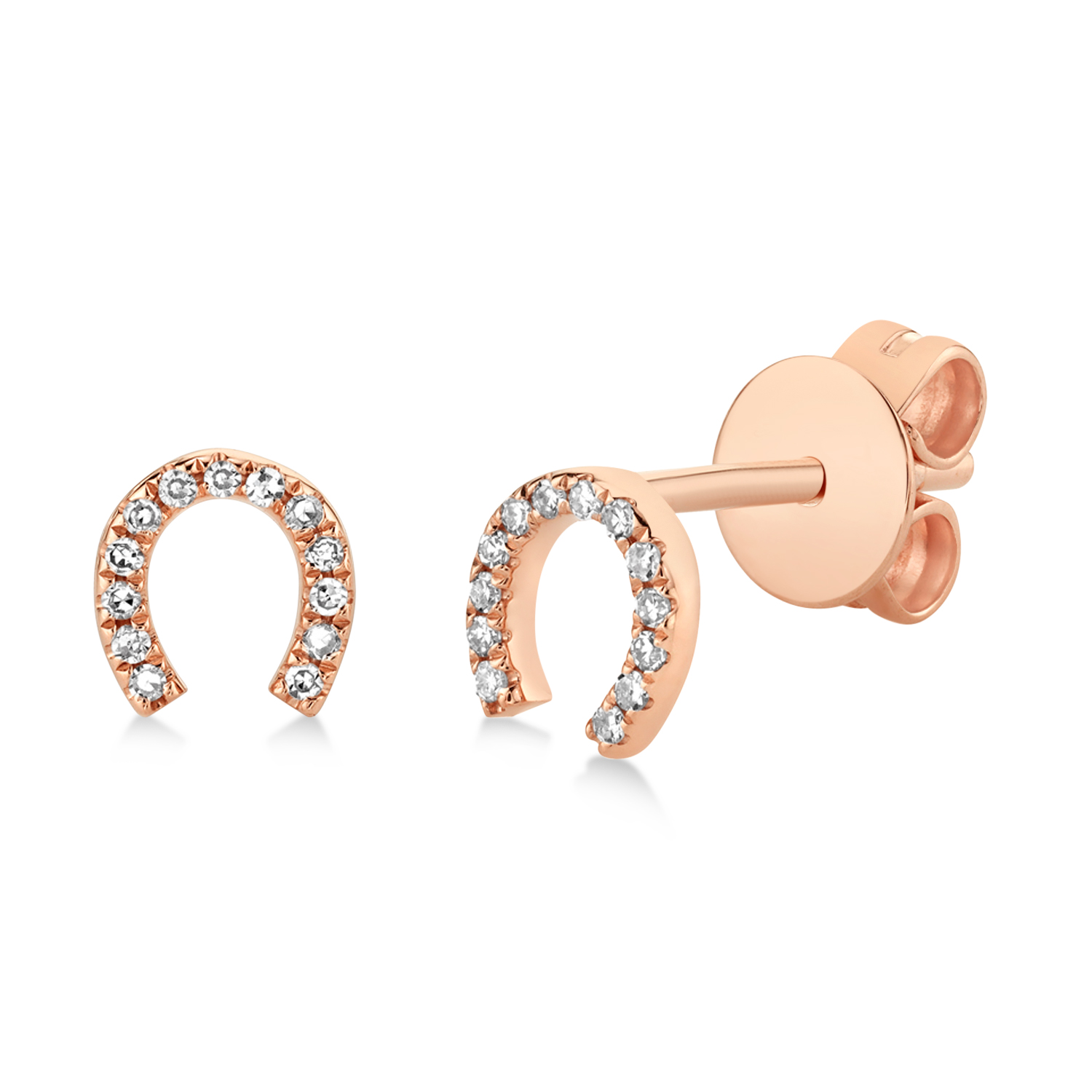 0.06ct 14k Rose Gold Diamond Horseshoe Earrings