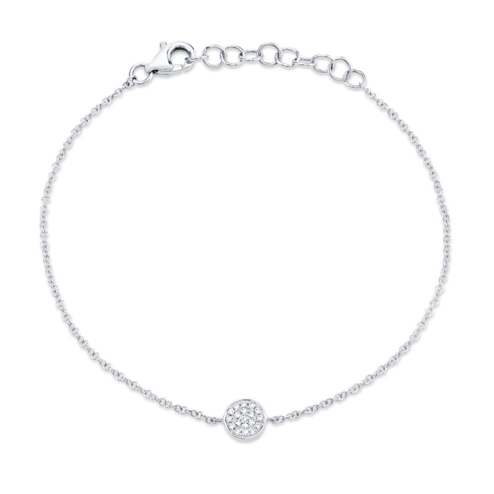 0.05ct 14k White Gold Diamond Pave Circle Bracelet