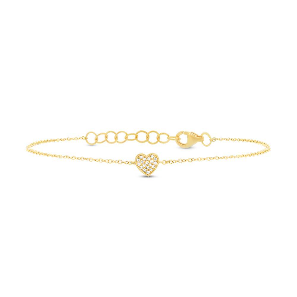 0.04ct 14k Yellow Gold Diamond Pave Heart Bracelet