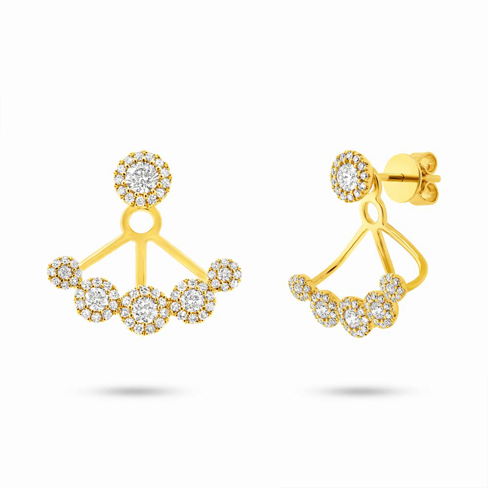 0.80ct 14k Yellow Gold Diamond Earrings Jacket With Studs