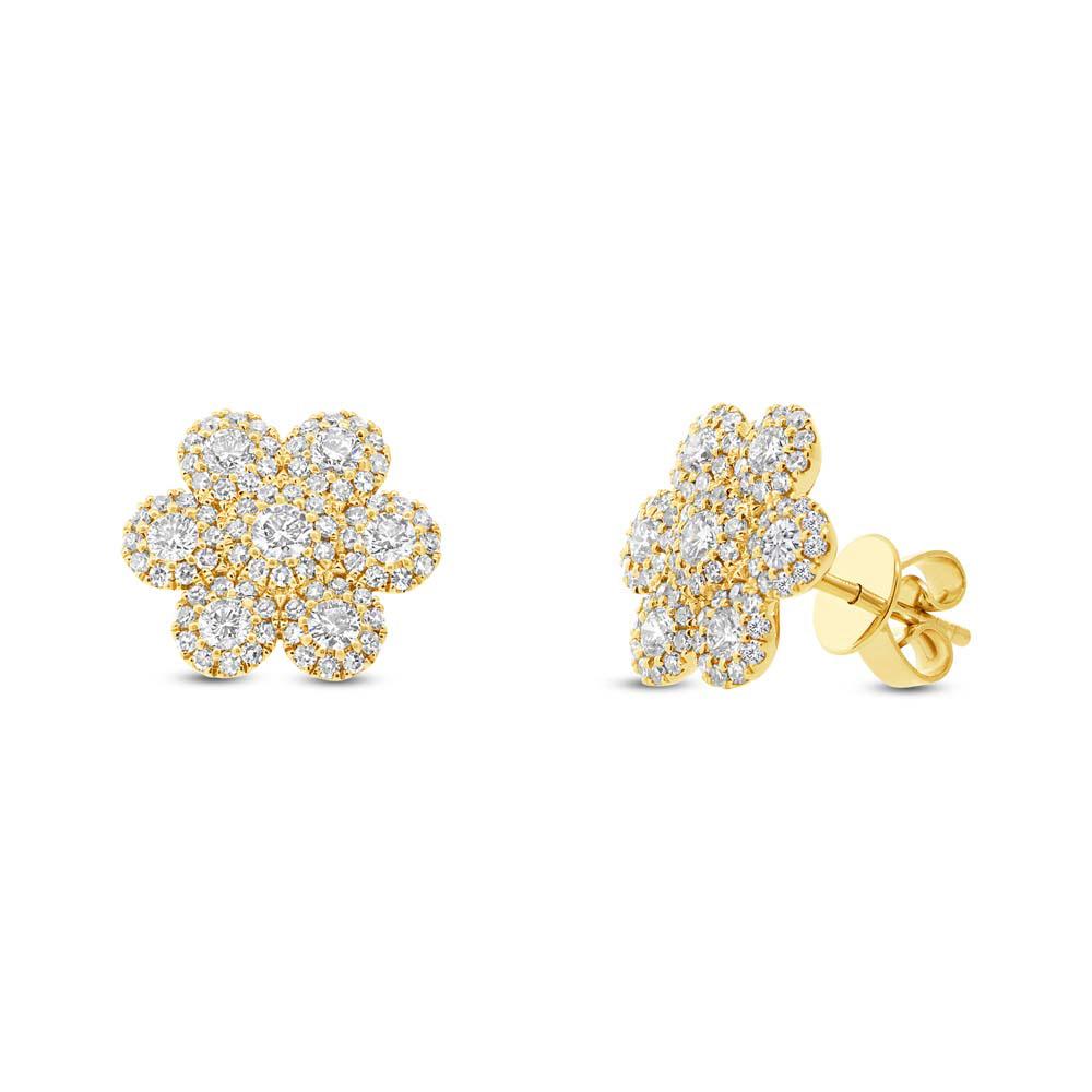 0.95ct 14k Yellow Gold Diamond Flower Earrings