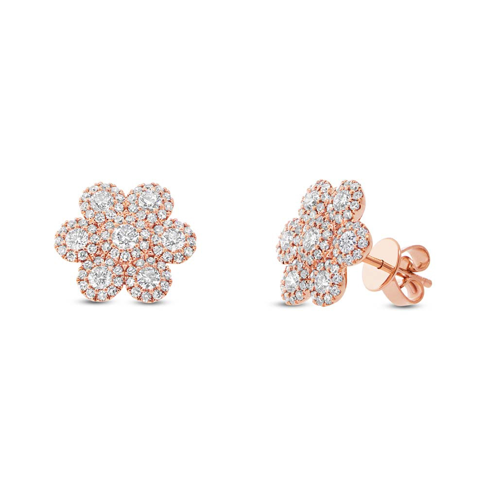 0.95ct 14k Rose Gold Diamond Flower Earrings
