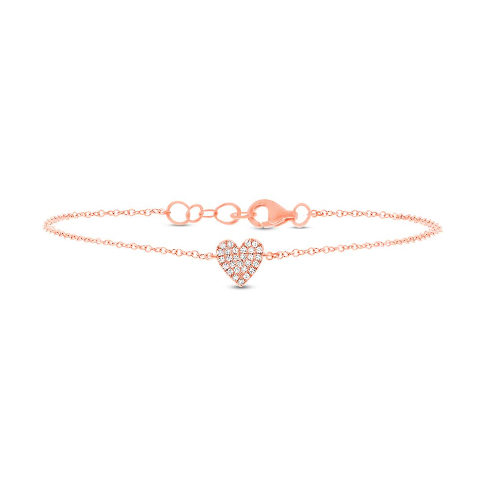 0.08ct 14k Rose Gold Diamond Heart Bracelet