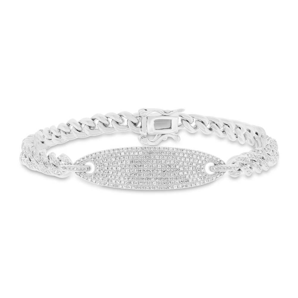 1.56ct 14k White Gold Diamond Pave Chain Bracelet