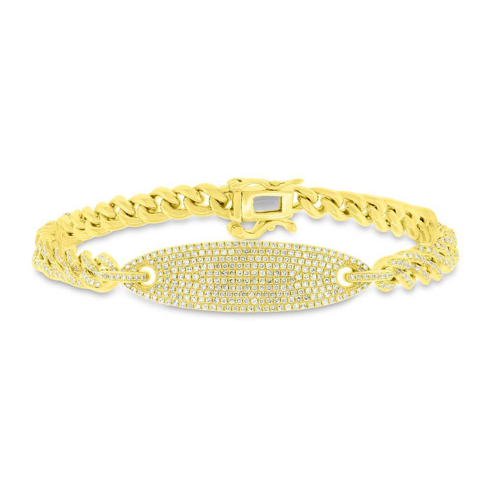 1.56ct 14k Yellow Gold Diamond Pave Chain Bracelet