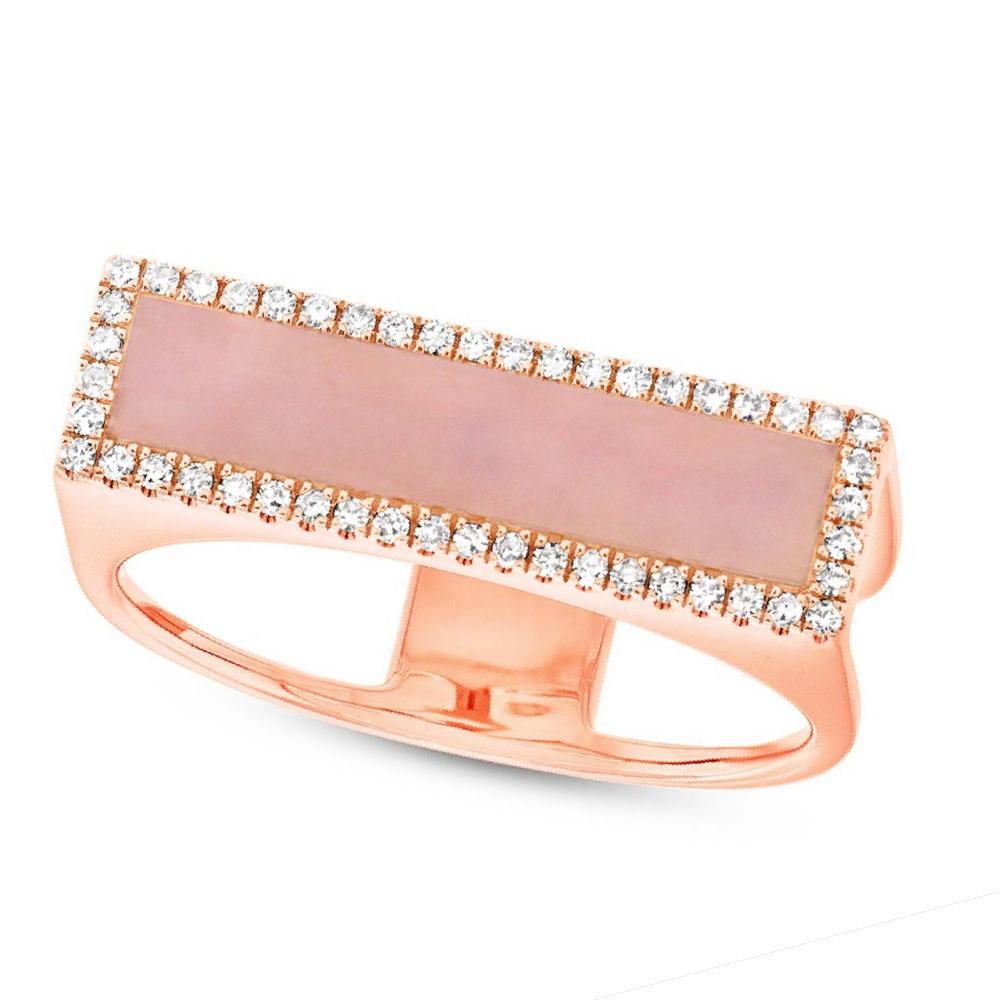 0.15ct Diamond & 0.80ct Pink Opal 14k Rose Gold Lady\'s Ring