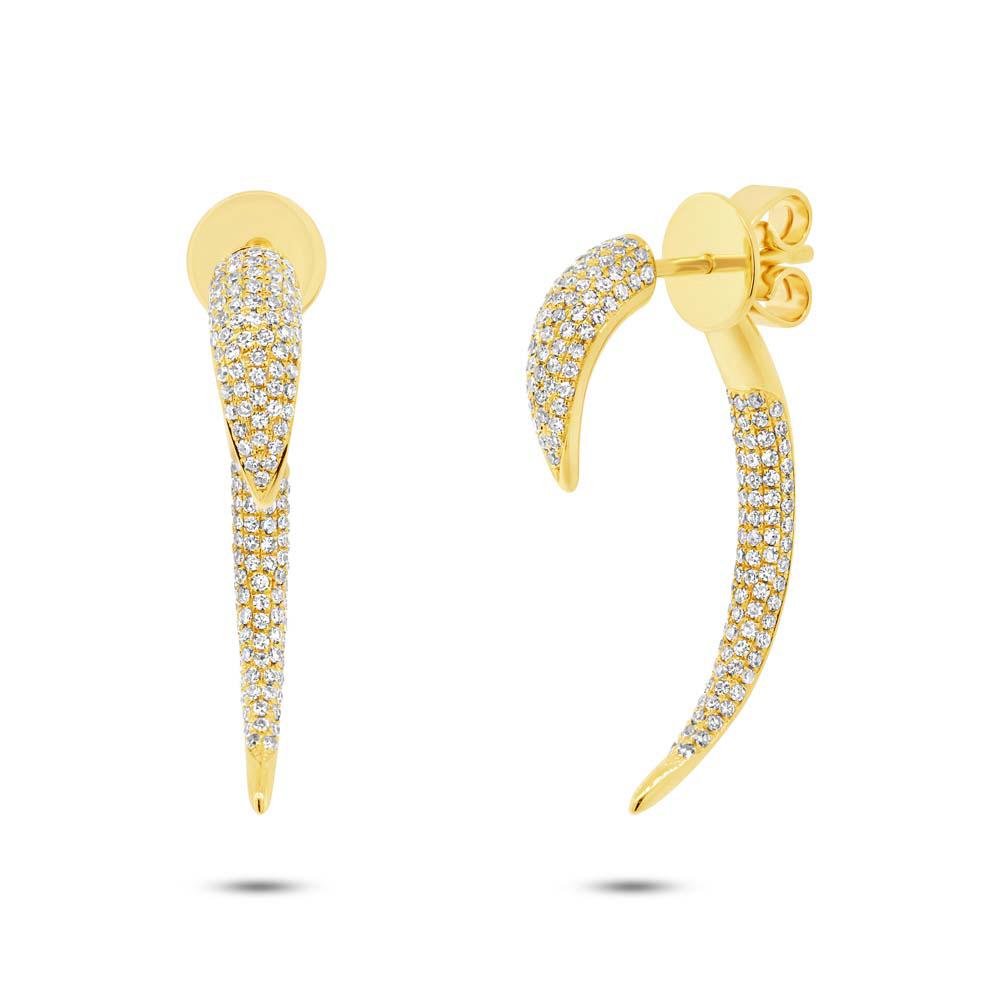 0.77ct 14k Yellow Gold Diamond Ear Jacket Earrings