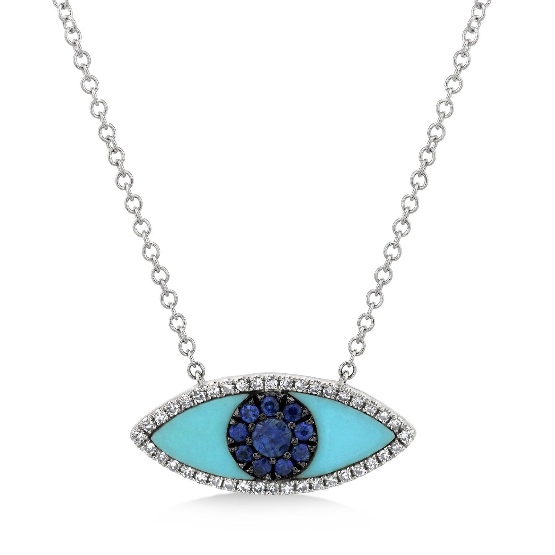 diamond 65ct blue sapphire turquoise 14k white