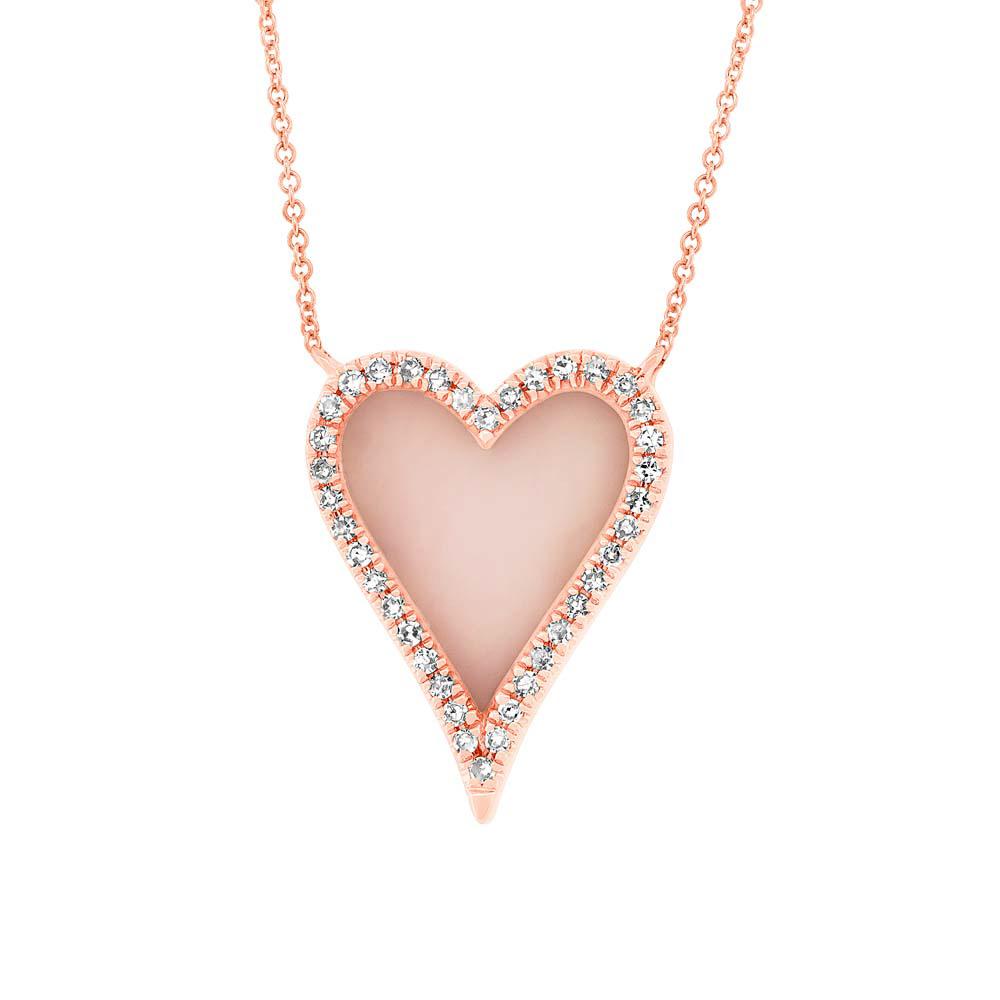 0 09ct Diamond Amp 0 61ct Pink Opal 14k Rose Gold Heart