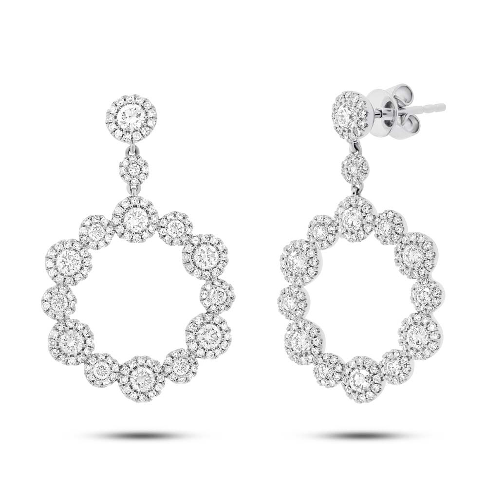 2.07ct 14k White Gold Diamond Earrings