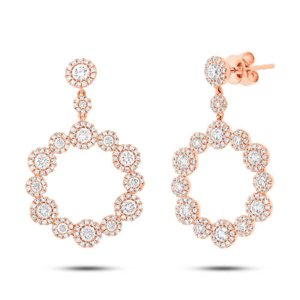 2.07ct 14k Rose Gold Diamond Earrings