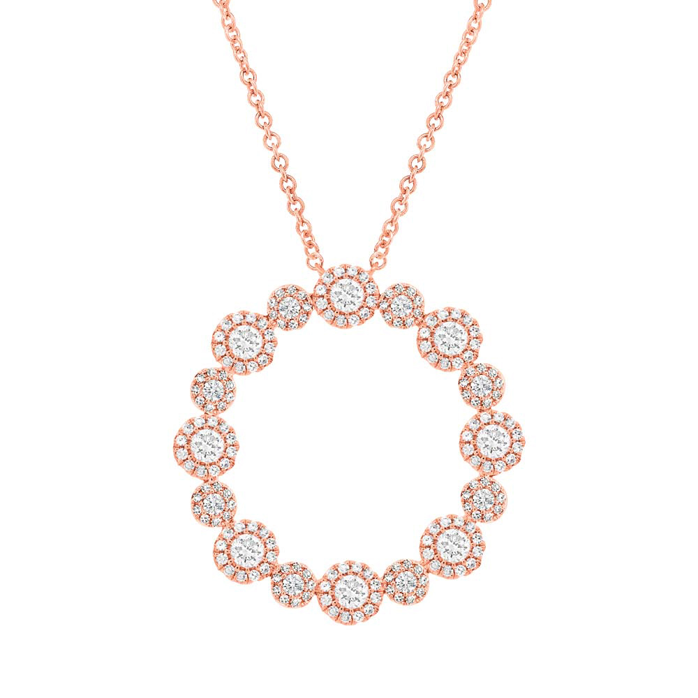 1.14ct 14k Rose Gold Diamond Necklace