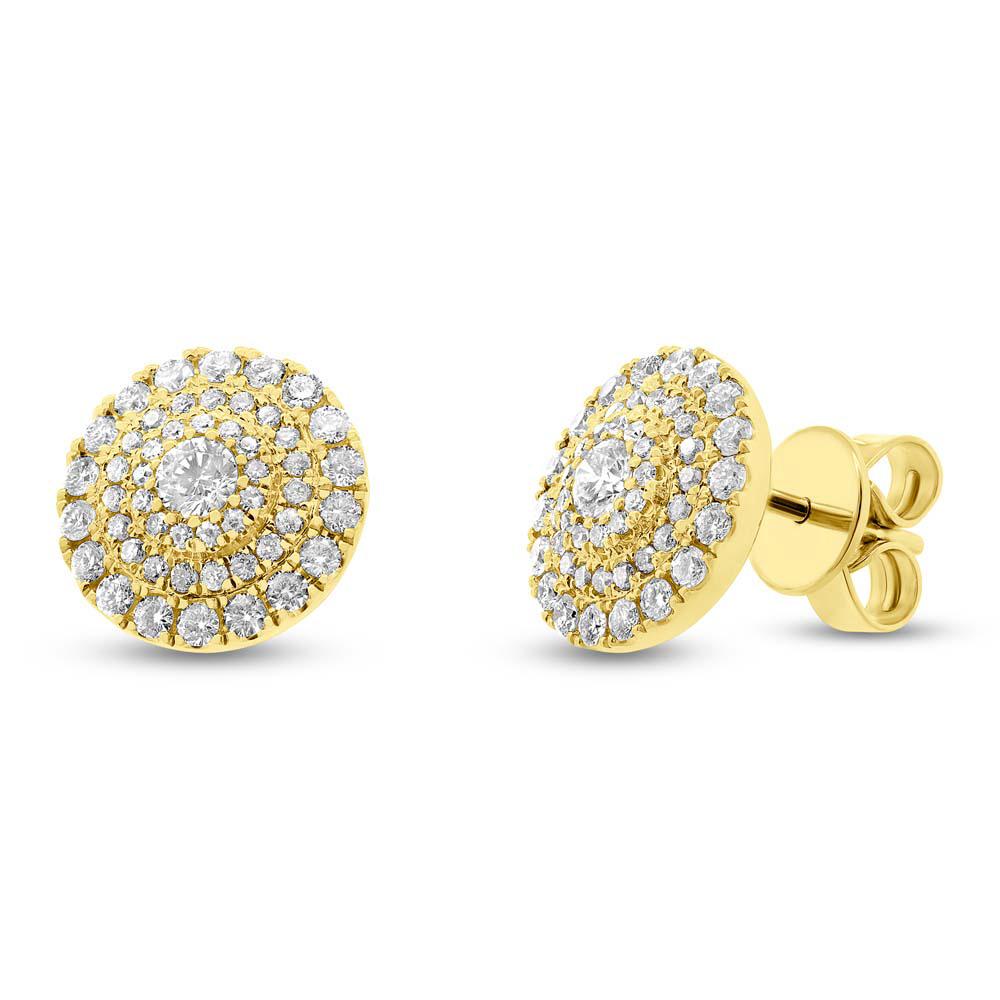 0.93ct 14k Yellow Gold Diamond Earrings