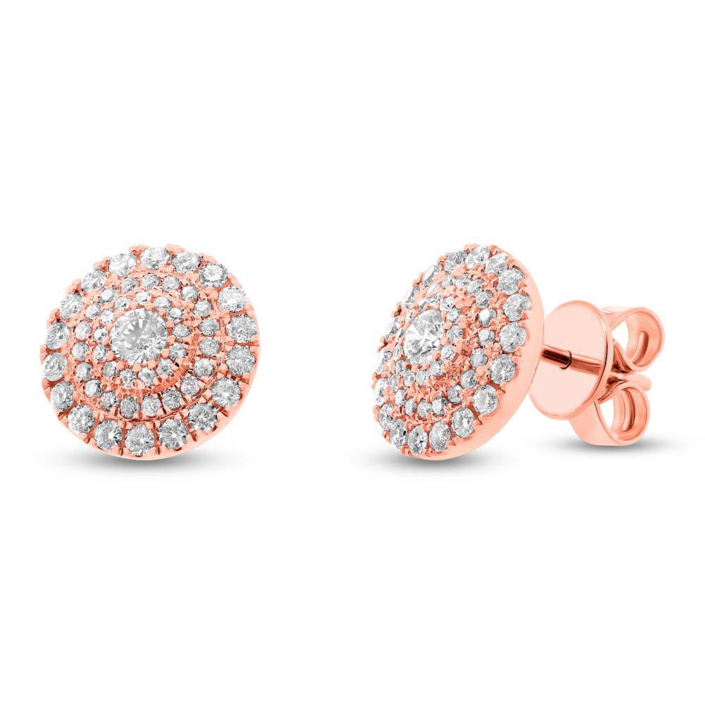 0.93ct 14k Rose Gold Diamond Earrings