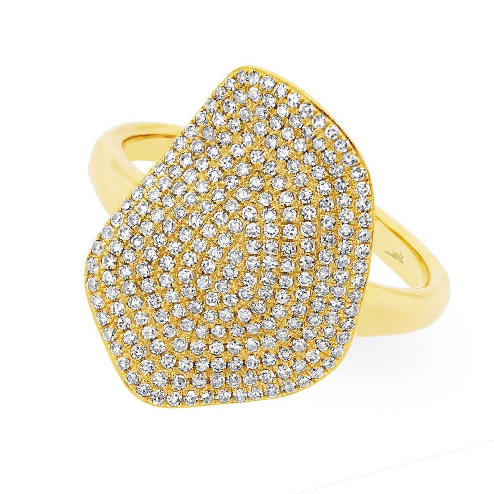 0.57ct 14k Yellow Gold Diamond Pave Lady's Ring