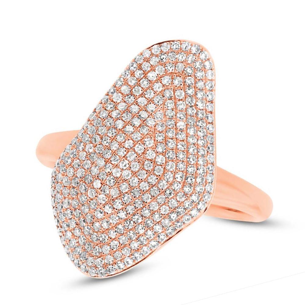 0.63ct 14k Rose Gold Diamond Pave Lady's Ring
