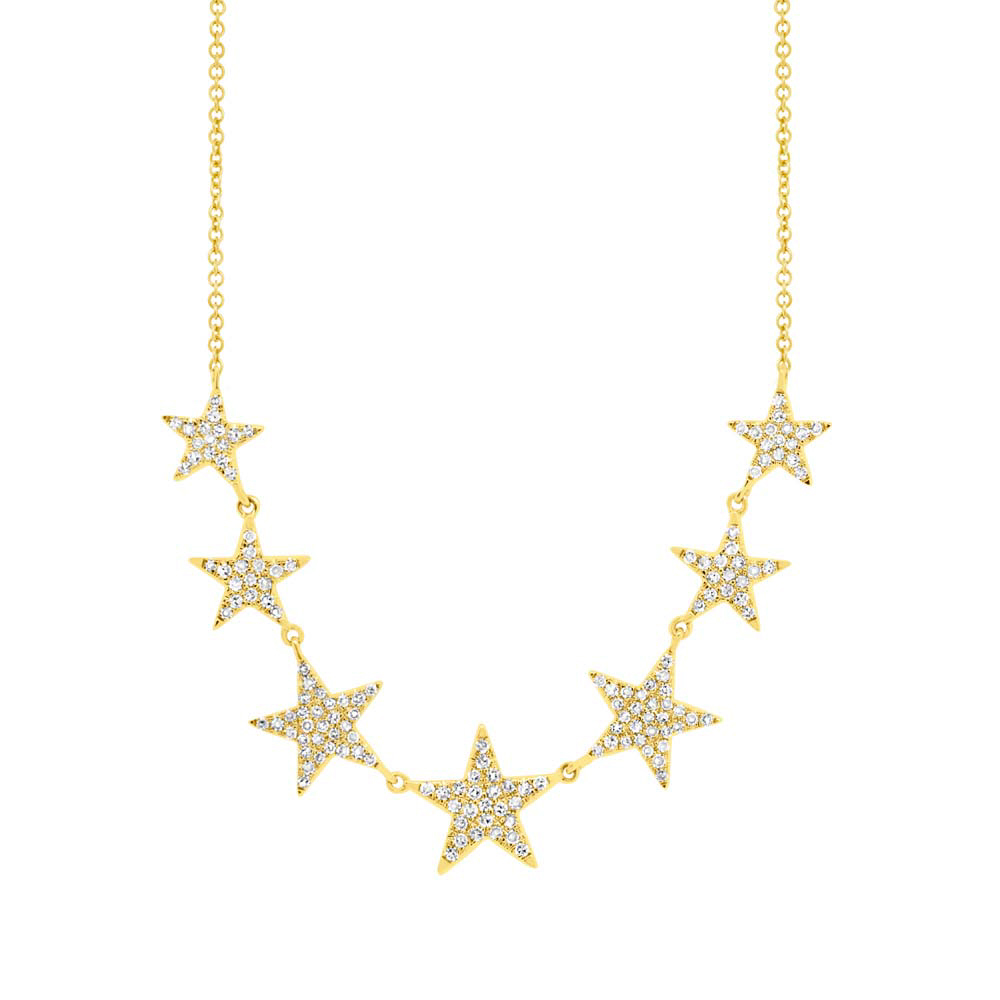 0.35ct 14k Yellow Gold Diamond Star Necklace