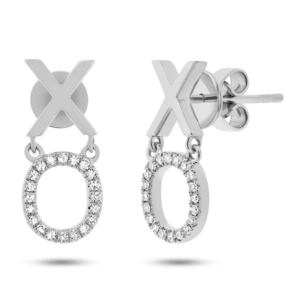 0.11ct 14k White Gold Diamond ''xo'' Earrings