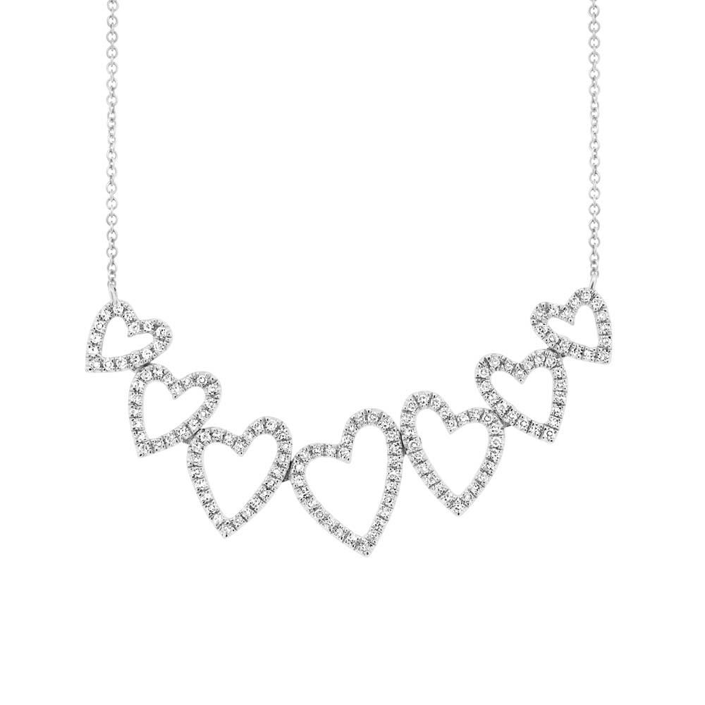 0.33ct 14k White Gold Diamond Hearts Pendant Necklace