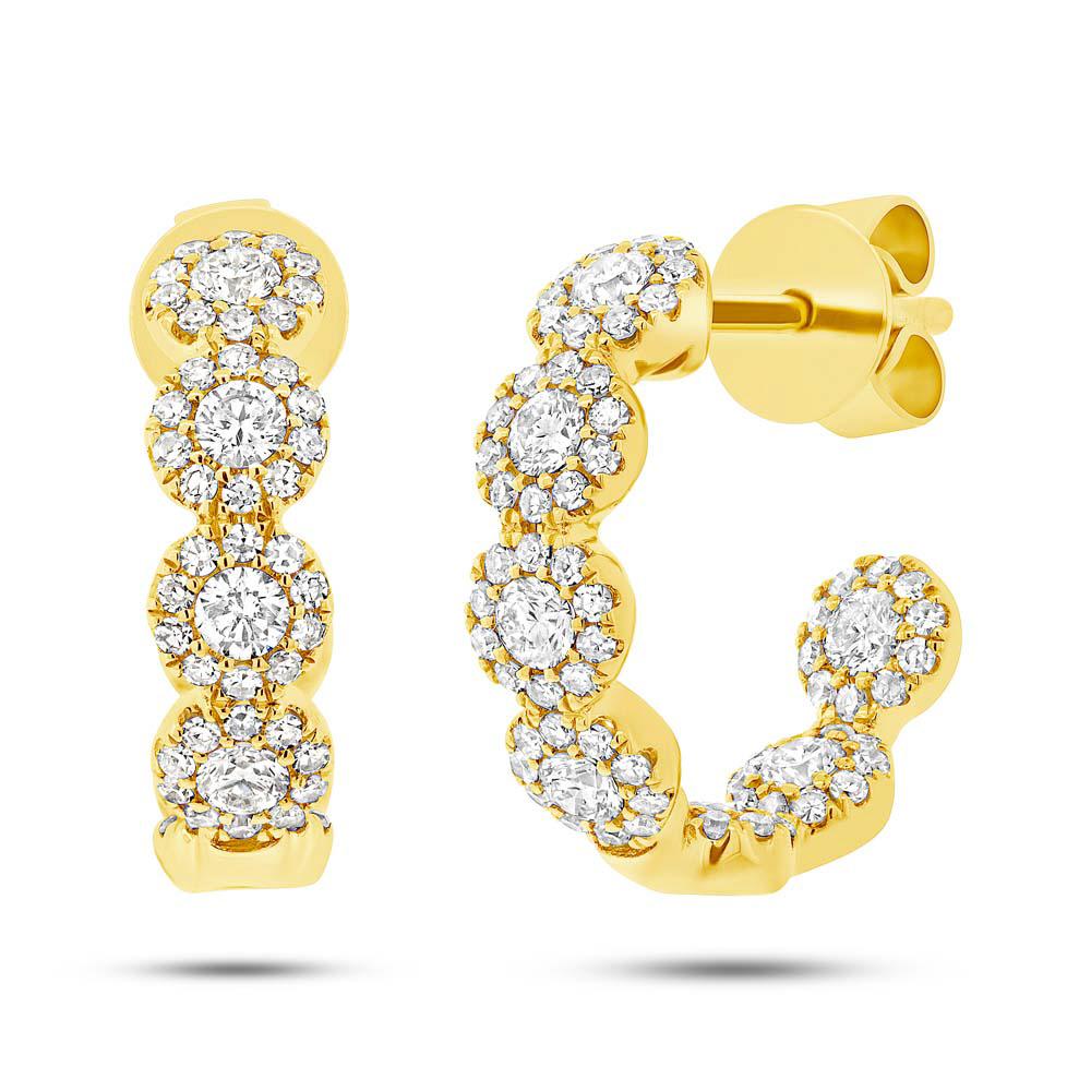 0.90ct 14k Yellow Gold Diamond Hoop Earrings