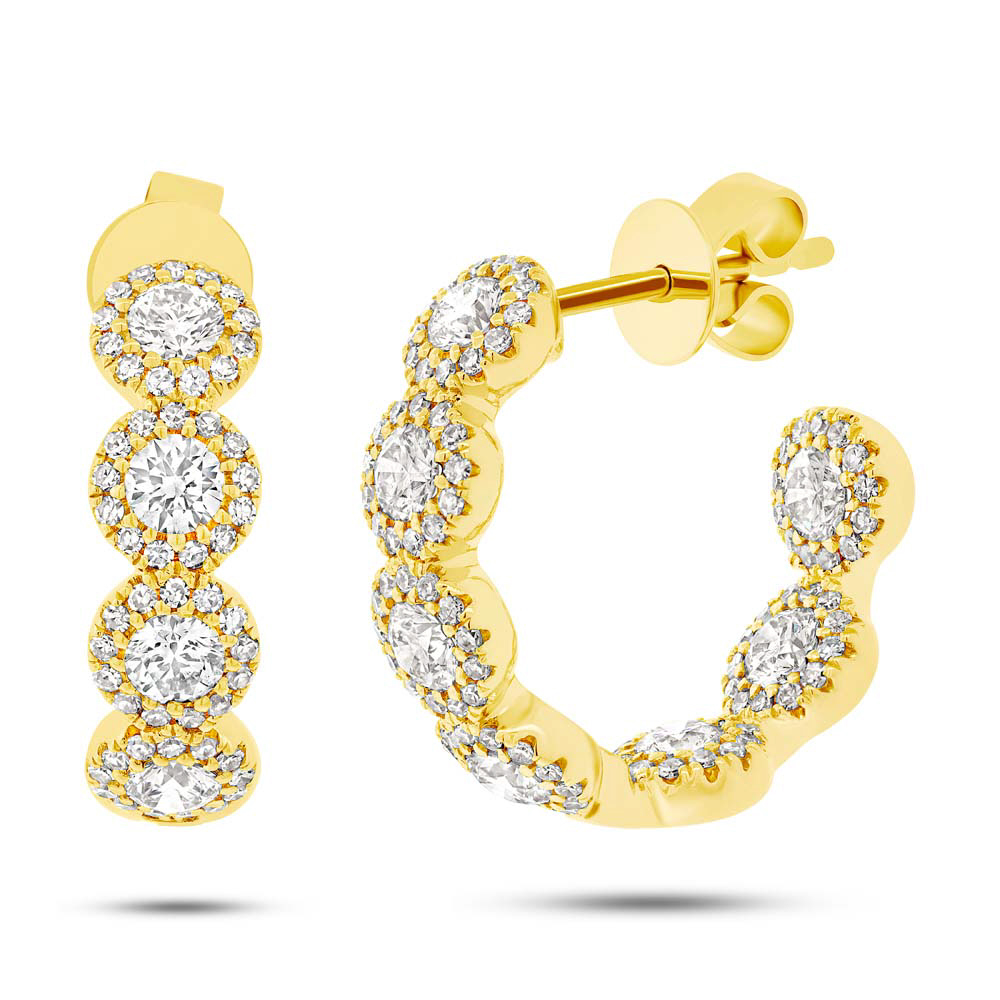 1.84ct 14k Yellow Gold Diamond Hoop Earrings